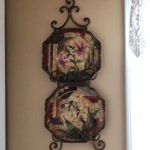 Wall plate holder and two beautiful plates